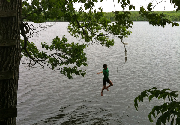 Paddle over to Big Island and walk the trails, relax in one of the hammocks or take a dip in the lake via the rope swing.